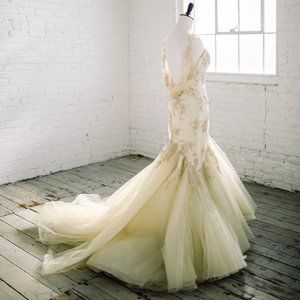 Pronovias Gold Taupe Prom Pageant Wedding Dress 6